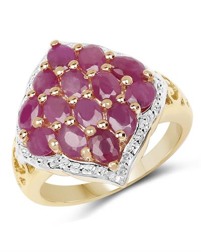 Brand New Ring with 3.08ctw ruby 14K/925 Yellow Gold plated Silver