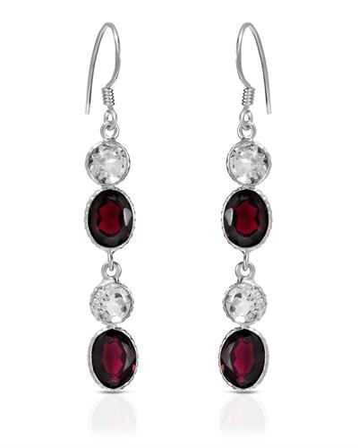 Brand New Earring with 13.25ctw of Precious Stones - garnet and topaz 925 Silver sterling silver