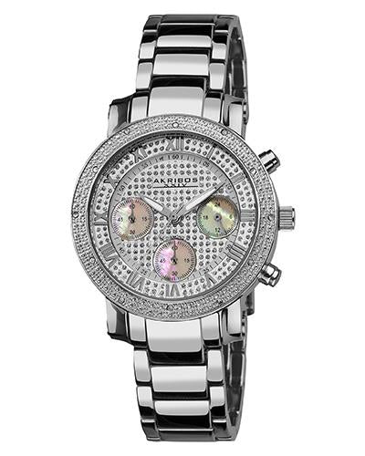 Akribos XXIV AK440SS Brand New Quartz Watch with 0.06ctw of Precious Stones - diamond and mother of pearl