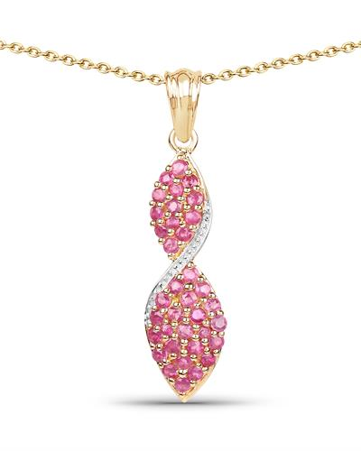 Brand New Necklace with 1.74ctw ruby 14K/925 Yellow Gold plated Silver