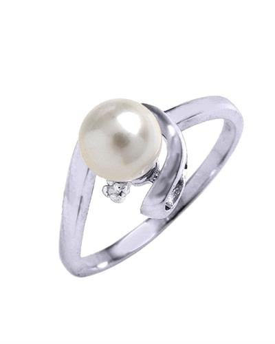 Magnolia Brand New Ring with 0.01ctw of Precious Stones - diamond and pearl 14K White gold