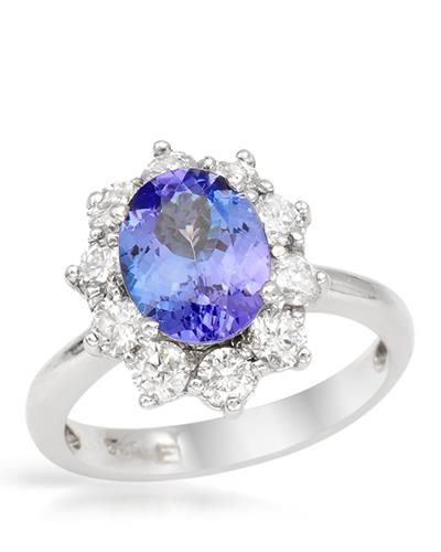 Brand New Ring with 2.75ctw of Precious Stones - diamond and tanzanite 14K White gold