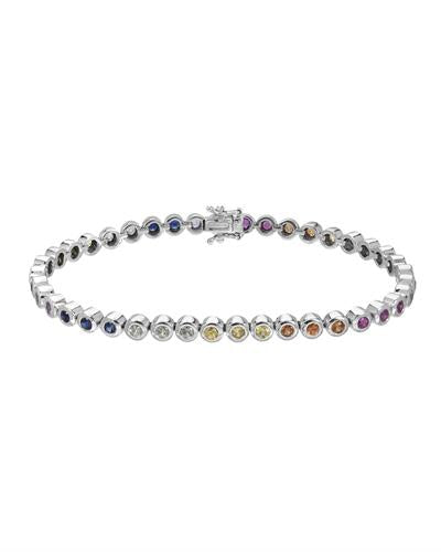 Brand New Bracelet with 2.9ctw sapphire 14K White gold