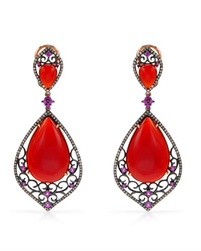 Brand New Earring with 37.48ctw of Precious Stones - agate, diamond, and sapphire 14K Two tone gold