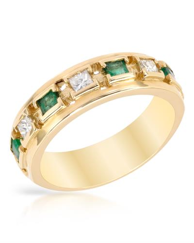 Brand New Ring with 1ctw of Precious Stones - diamond and emerald 14K Yellow gold
