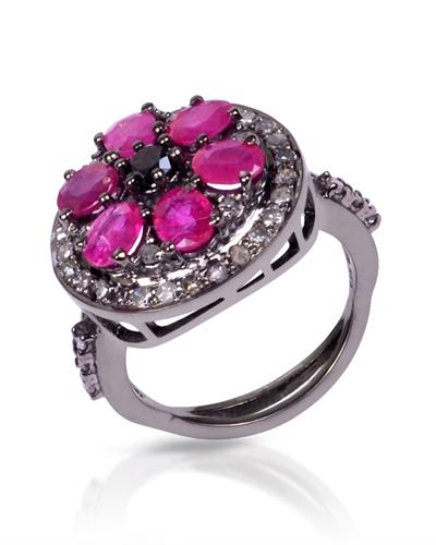 Brand New Ring with 3.3ctw of Precious Stones - diamond, diamond, and ruby 925 Black sterling silver