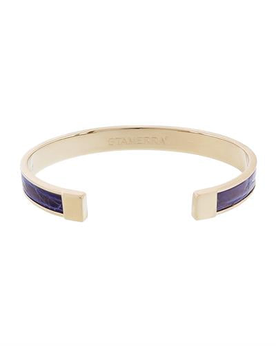 Stamerra PICCOLO CROCCO AZ Brand New Bracelet  Gold brass and  Blue Genuine Crocodile Leather
