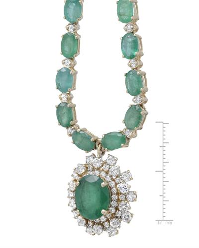 Lundstrom Brand New Necklace with 29.45ctw of Precious Stones - diamond, emerald, and emerald 14K Yellow gold
