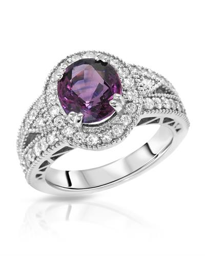 Brand New Ring with 3.94ctw of Precious Stones - diamond and sapphire 14K White gold