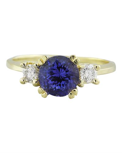 Brand New Ring with 1.93ctw of Precious Stones - diamond and tanzanite 18K Yellow gold