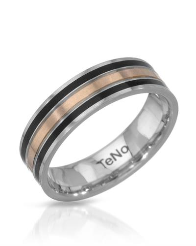 TeNo Brand New Ring  Black ceramic and 18K/StSl Two tone stainless steel with gold inlay
