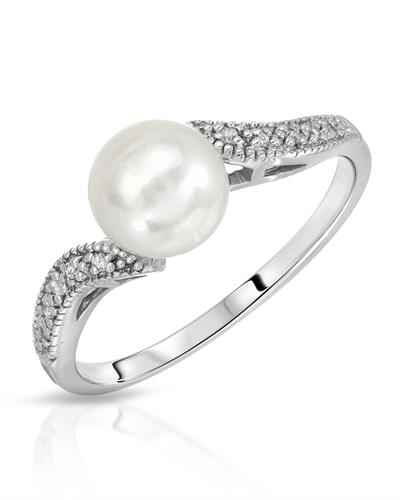 Magnolia Brand New Ring with 0.04ctw of Precious Stones - diamond and pearl 10K White gold