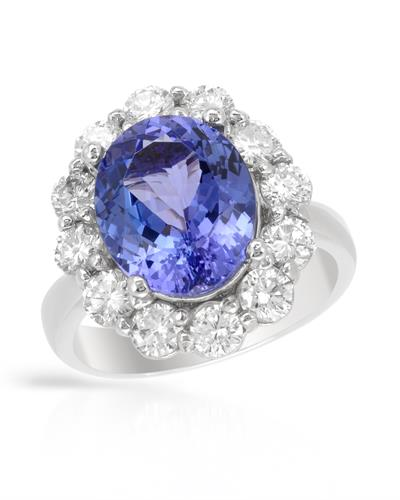 Brand New Ring with 6.4ctw of Precious Stones - diamond and tanzanite 14K White gold
