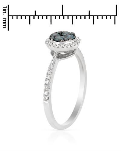Brand New Ring with 0.48ctw of Precious Stones - diamond and diamond 14K White gold