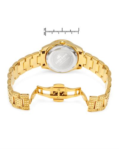 Adee Kaye AK9-12LG/CR Brand New Quartz date Watch with 0ctw of Precious Stones - crystal and mother of pearl