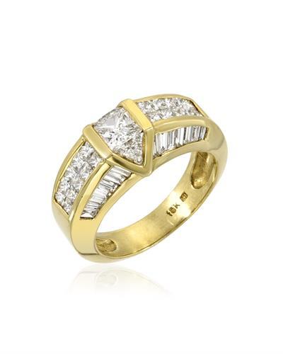 Julius Rappoport Brand New Ring with 2.1ctw of Precious Stones - diamond and diamond ctr 18K Yellow gold