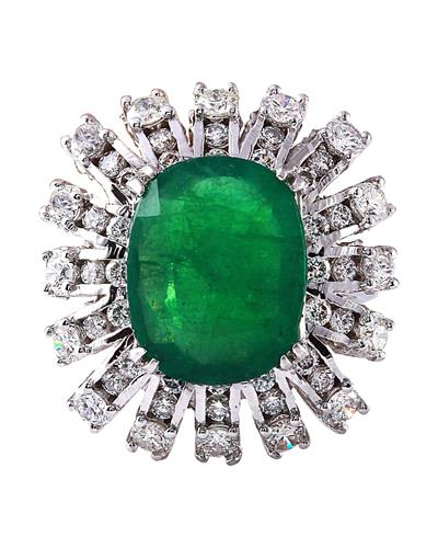 7.68 Carat Natural Emerald 14K Solid White Gold Diamond Ring