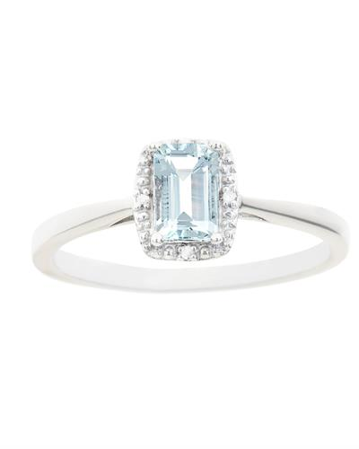 Brand New Ring with 0.51ctw of Precious Stones - aquamarine and diamond 925 Silver sterling silver