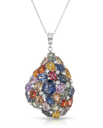 Brand New Necklace with 17.09ctw of Precious Stones - diamond, sapphire, and sapphire 14K White gold