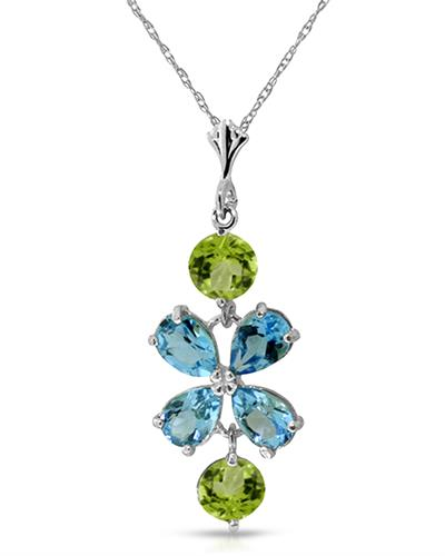 Magnolia Brand New Necklace with 3.15ctw of Precious Stones - peridot and topaz 14K White gold