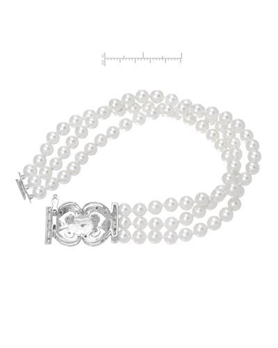 Brand New Bracelet with 0.15ctw of Precious Stones - diamond and pearl 14K White gold
