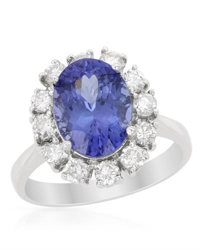 Brand New Ring with 4.4ctw of Precious Stones - diamond and tanzanite 14K White gold