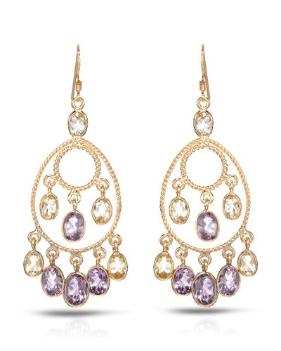 Brand New Earring with 11ctw of Precious Stones - amethyst and citrine 10K/925 Yellow Gold plated Silver