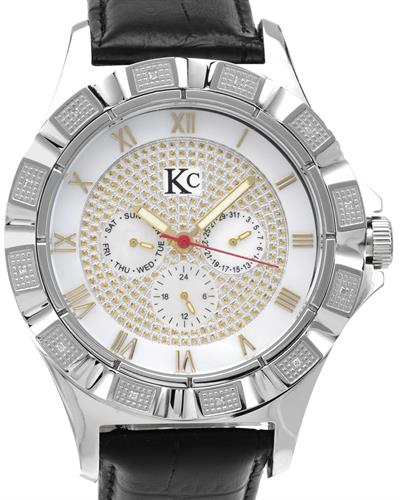 KC WA007912 Brand New Japan Quartz day date Watch with 0.06ctw of Precious Stones - diamond and mother of pearl