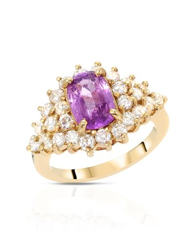 Brand New Ring with 3.4ctw of Precious Stones - diamond and sapphire 14K Yellow gold