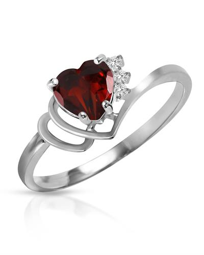 Magnolia Brand New Ring with 0.97ctw of Precious Stones - diamond and garnet 14K White gold