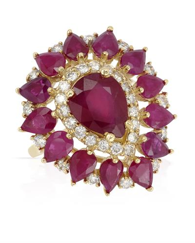 Foreli Brand New Ring with 9.42ctw of Precious Stones - diamond, ruby, and ruby 14K Yellow gold