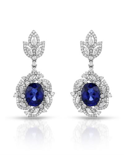 Julius Rappoport Brand New Earring with 9.6ctw of Precious Stones - diamond and sapphire 18K White gold