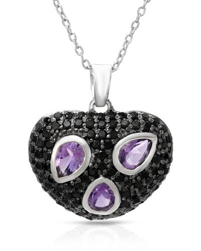 Brand New Necklace with 3.39ctw of Precious Stones - amethyst and spinel 925 Silver sterling silver