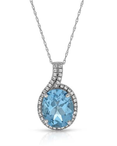 Magnolia Brand New Necklace with 4.3ctw of Precious Stones - sapphire and topaz 10K White gold