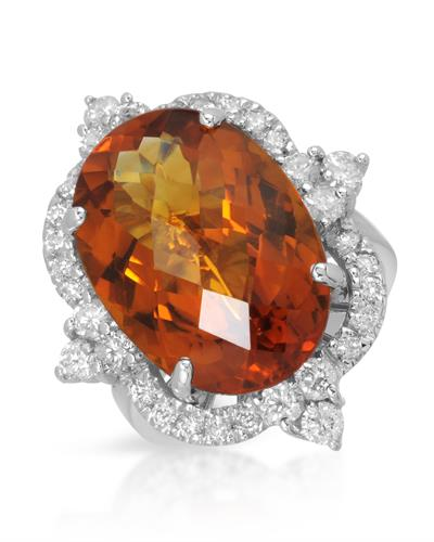 Brand New Ring with 13.8ctw of Precious Stones - citrine and diamond 14K White gold