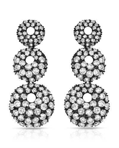 Brand New Earring with 0ctw cubic zirconia 925 Black sterling silver