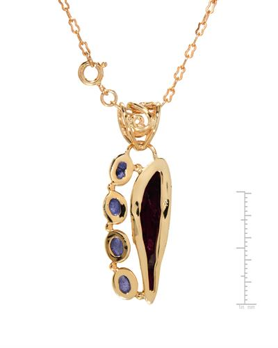 Brand New Necklace with 15.58ctw of Precious Stones - tanzanite and tourmaline 10K/925 Yellow Gold plated Silver