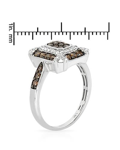Brand New Ring with 0.71ctw of Precious Stones - diamond and diamond 14K White gold