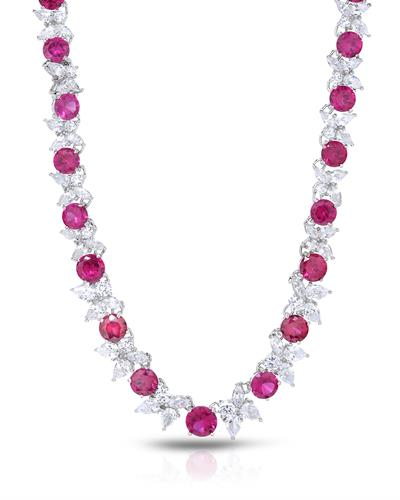 Brand New Necklace with 45ctw of Precious Stones - cubic zirconia and ruby 925 Silver sterling silver