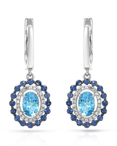 Brand New Earring with 1.79ctw of Precious Stones - diamond, sapphire, and topaz 14K White gold