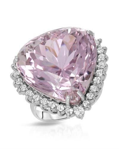 Julius Rappoport Brand New Ring with 36.45ctw of Precious Stones - diamond and kunzite 14K White gold