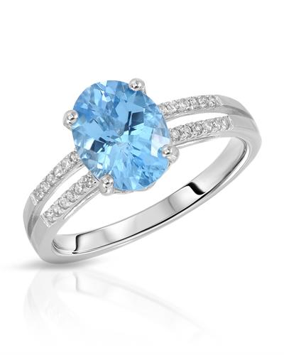 Magnolia Brand New Ring with 2.45ctw of Precious Stones - diamond and topaz 14K White gold