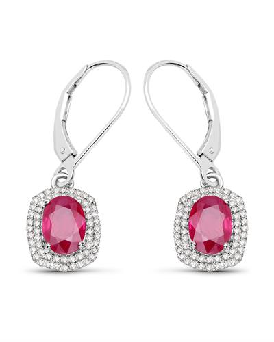 Brand New Earring with 2.26ctw of Precious Stones - diamond and ruby 14K White gold