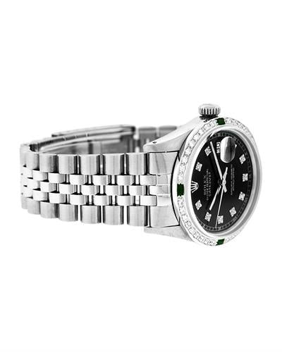 Rolex PreOwned Automatic (Self Winding) date Watch with 1.2ctw of Precious Stones - diamond and emerald
