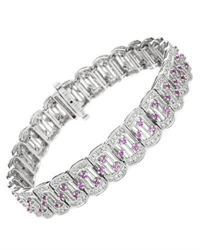 Brand New Bracelet with 3.02ctw of Precious Stones - diamond and sapphire 14K White gold