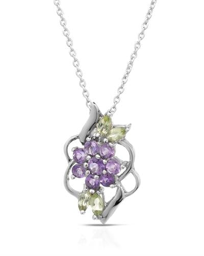 Brand New Necklace with 0.75ctw of Precious Stones - amethyst and peridot 925 Silver sterling silver