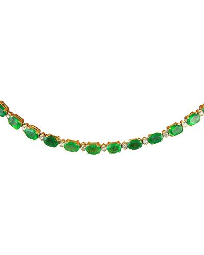 Brand New Necklace with 27.25ctw of Precious Stones - diamond and emerald 14K Yellow gold