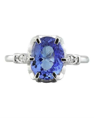 Brand New Ring with 2.69ctw of Precious Stones - diamond and tanzanite 14K White gold