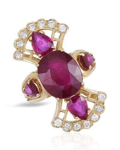 Lundstrom Brand New Ring with 7.32ctw of Precious Stones - diamond, ruby, and ruby ctr 14K Yellow gold