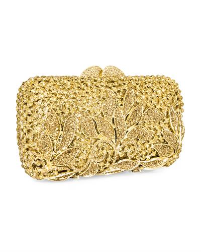 Dolli Classic Leaves Brand New Clutch with 0ctw crystal  Gold base metal